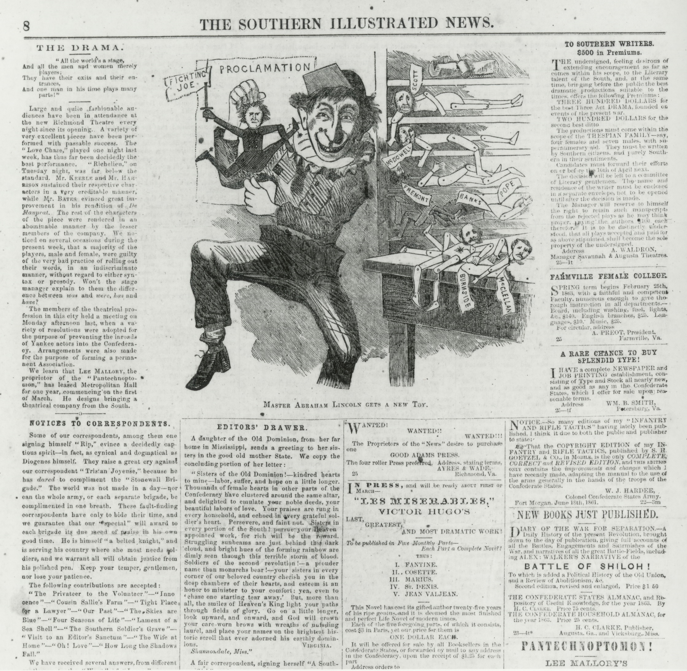 Master Abraham Lincoln Gets A New Toy Newspaper Cartoon 1863