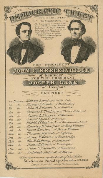 Breckinridge Lane Democratic Ticket Broadside 1860