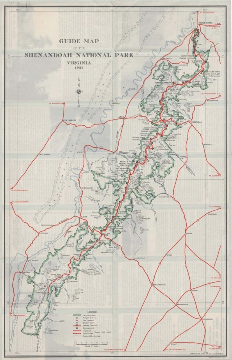guide map of virginia.  guide map of shenandoah national park map  · document