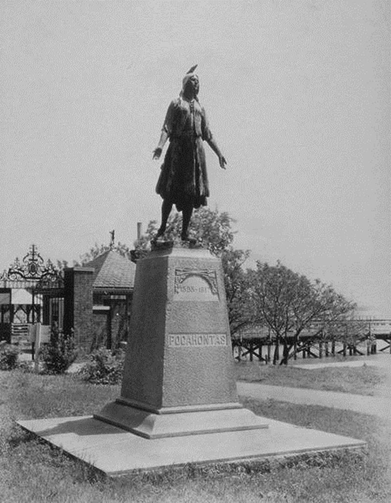 Photo Of The Statue Of Pocahontas At Jamestown 1939