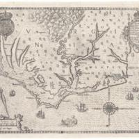 Theodor de Bry, Americae Pars, Nunc Virginia Dicta (That Part of America, Now Called Virginia) Map, 1590