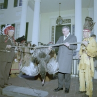 Indian Tribes Pay Tribute Taxes to Governor Baliles, Photograph, 1989