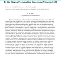 By the King A Proclamation Concerning Tobacco, 1630 Transcription.pdf
