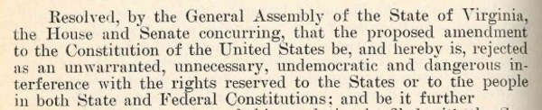 clipping from the Journal of the House of Delegates of Virginia opposing the proposed 19th Amendment