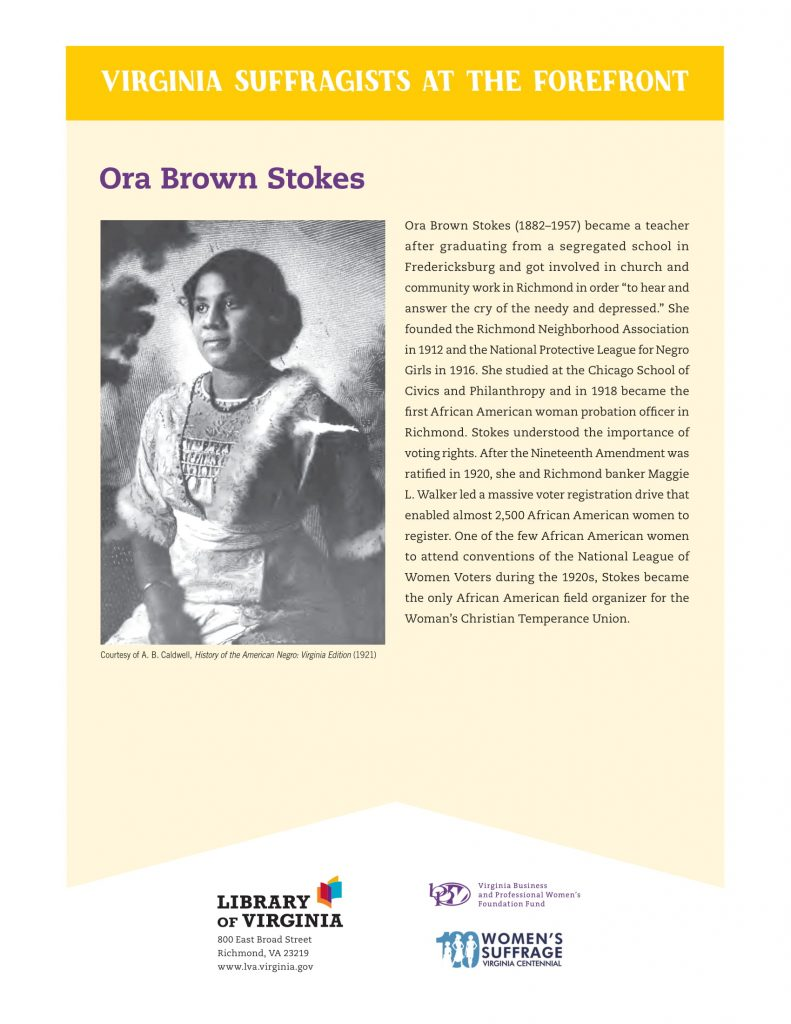 Photograph of Ora Brown Stokes with a short biography.