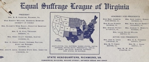 Equal Suffrage League of Virginia letterhead