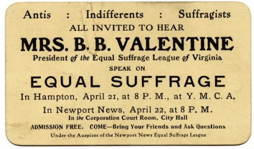 a card inviting people to come hear two speeches by Equal Suffrage League president Lila Meade Valentine