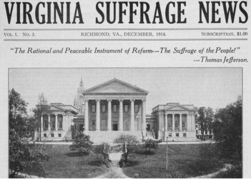 front page of the third issue of the Virginia Suffrage News
