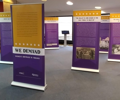 photograph of panel display of We Demand: Women's Suffrage in Virginia traveling exhibition